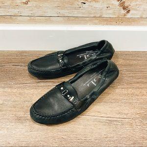 AGL Black Leather Slip On Loafer Flats Shoes
